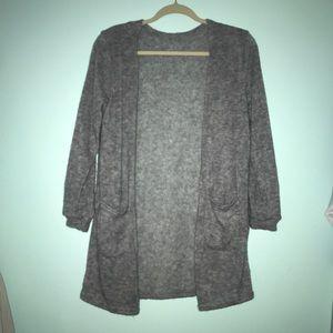 open gray cardigan